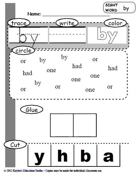like Sight Education  Studio Words worksheets Kindergarten  Kaylee's  word sight