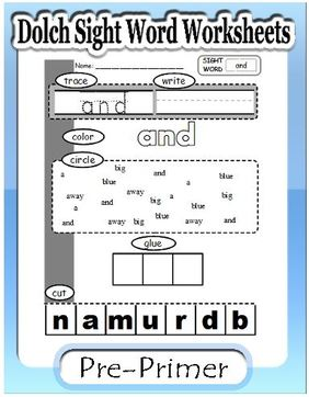 Dolch sight word worksheets preprimer