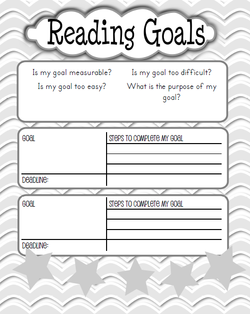 For the reading goals worksheet, students are going to make sure that ...