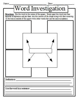 Morpheme Analysis Graphic Organizers