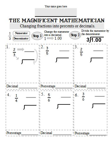 math worksheet : printables and worksheets to go with the book fractions decimals  : Converting Fractions To Decimals And Percents Worksheets