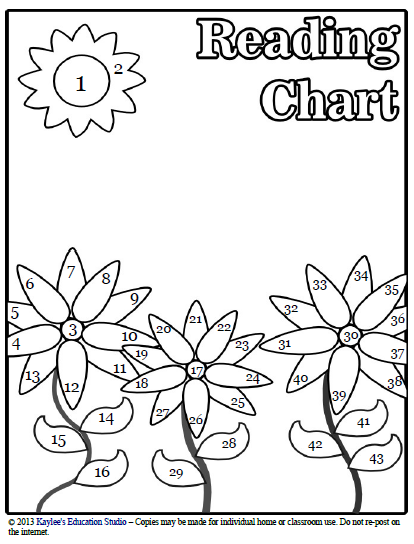 Sun and flower reading chart
