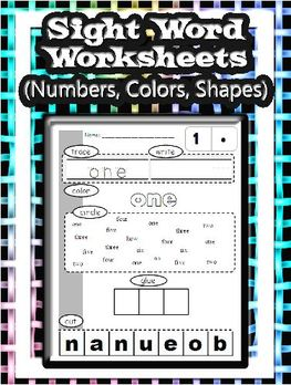 Number, color, and shape words worksheet