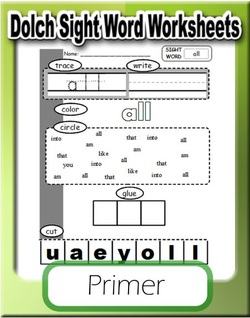 a new set of sight word worksheets is out this time it is the words from the dolch primer word list you can get the the preprimer list and words from