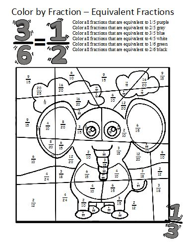 math worksheet : color by fractions  kaylee s education studio : Math Worksheets Equivalent Fractions