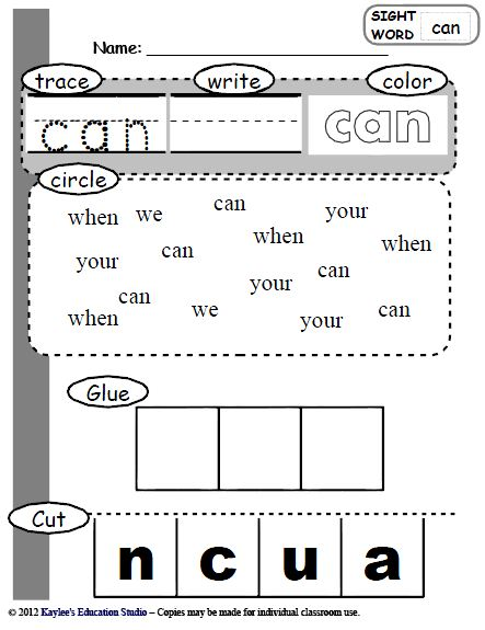 kindergarten  activities Education  Kaylee's Sight sight Studio Kindergarten Words  word
