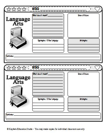 vocab journal template - Roho.4senses.co
