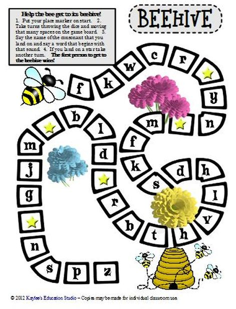 Freebie - Beehive Phonics Game Board - Kaylee's Education Studio
