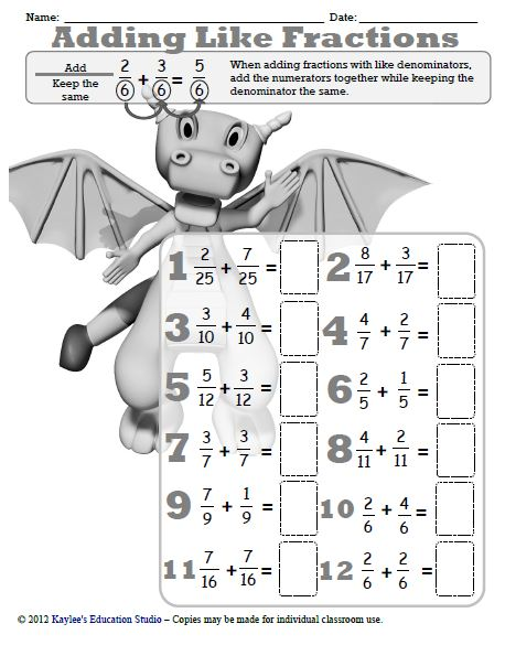 math worksheet : adding and subtracting fractions  kaylee s education studio : Worksheet On Adding And Subtracting Fractions