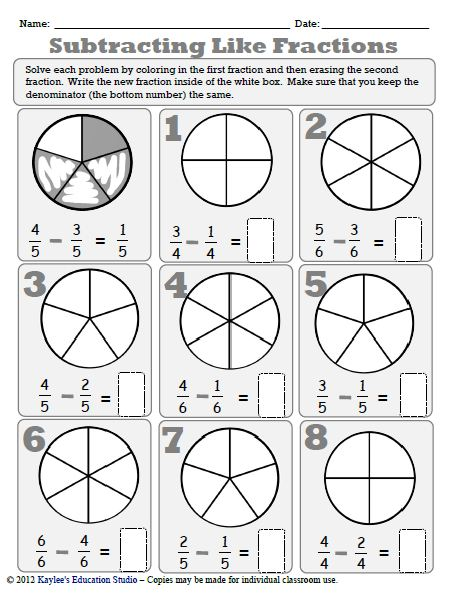 math worksheet : fraction worksheets  kaylee s education studio : Subtracting Fractions With Common Denominators Worksheets